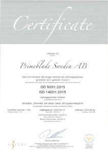 PrimeBlade ISO 9001:2019 ISO 14001:2015